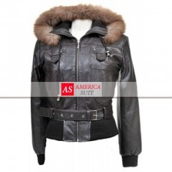 Women Removable Fur Hooded Leather Jacket