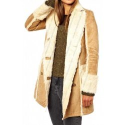 Women Shearling Camel Brown Leather Jacket