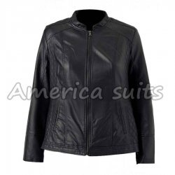 Womens Black Plus Size Leather Jacket
