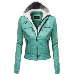 Women's Faux Leather Detachable Hood Biker Bomber Jacket