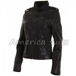 Wrinkled Black Jacket For Women