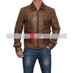 Expendable Vintage Shirt Collar  Camel Cognac Leather Jacket