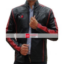 N7 Red Striped Boys Black Leather Stylish Printed Logo Jacket