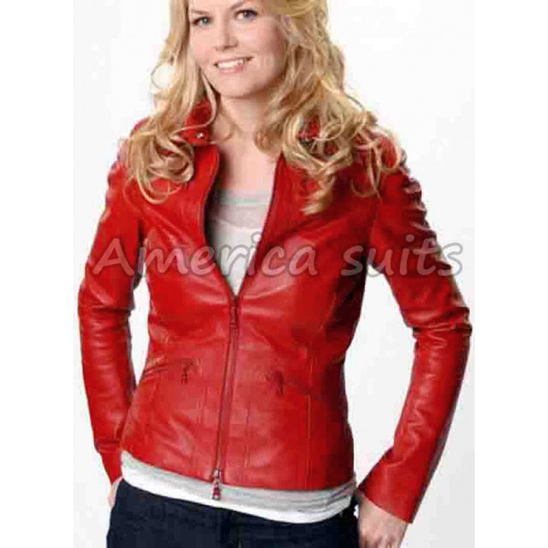 Emma Swan Red Leather Jacket For Women Americasuits Com