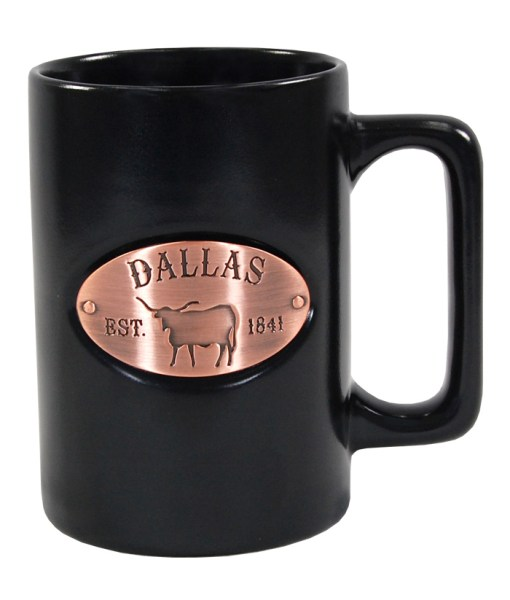 Dallas Copper Medallion Black Mug