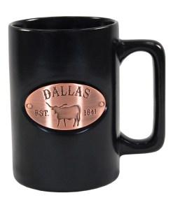 Dallas Copper Medallion Black Mug