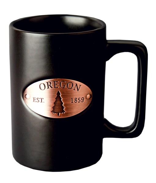 Oregon Copper Medallion Black Mug