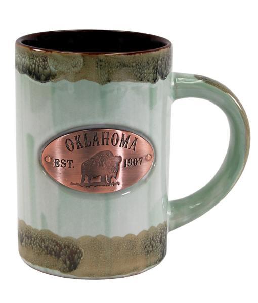 Oklahoma Green Glaze Medallion Mug