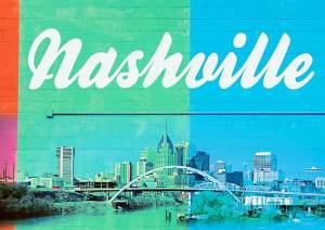 Nashville cityscape on block wall