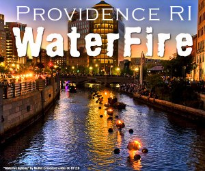 Fire floating upon the River in Providence