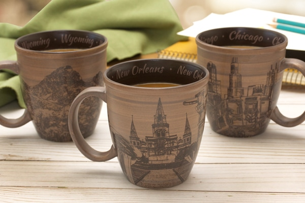 Three brown large mugs