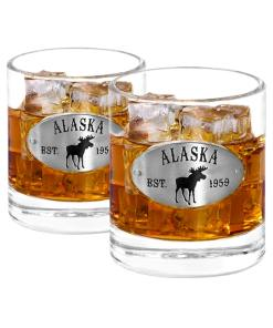 Two Alaska Whiskey Glasses