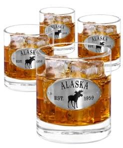 Alaska emblem Whiskey Glasses 4 set