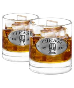 Two Chicago Whiskey Glasses