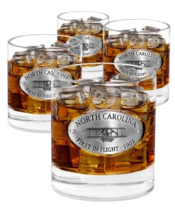 North Carolina 4 Whiskey Glasses