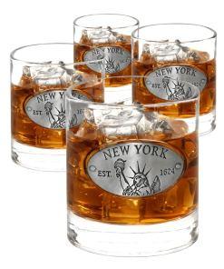 New York 4 Whiskey Glasses