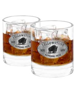 Two Yellowstone Whiskey Glasses