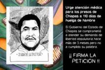 Aufruf, die Petition zur Freilassung zu unterzeichnen. Das Bild zeigt Juan de la Cruz Ruiz, einen der Streikenden
