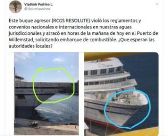 """Tweet des venezolanischen Verteidigungsministers Padrino mit Bildern des beschädigten """"Resolute"""""""