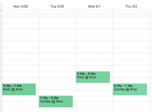 Workout calendar