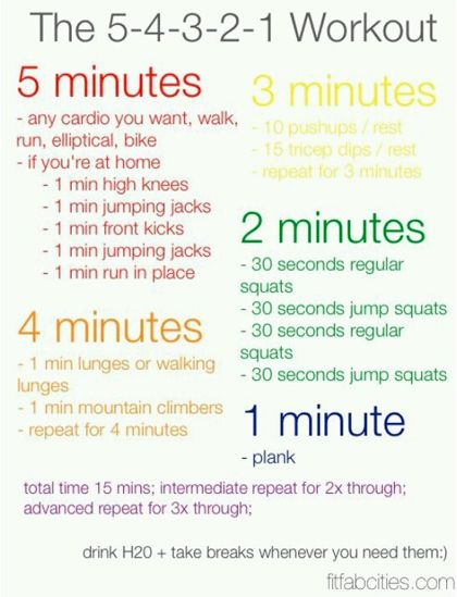 5 4 3 2 1 workout from pinterest