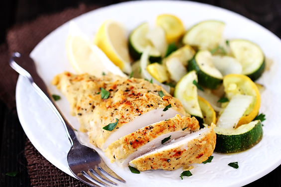 healthy advocare recipes - hummus crusted chicken by gimme some oven