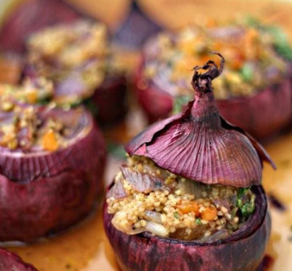 couscous recipes - red onion couscous stuffed onion