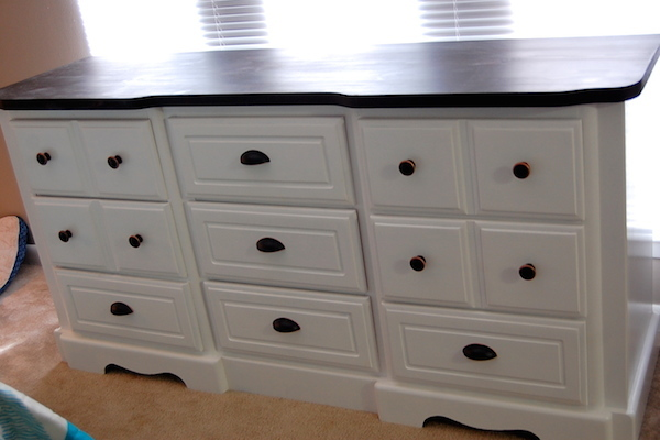 DIY White Painted Dresser finished