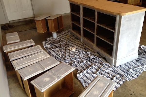 DIY White Painted Dresser middle progress