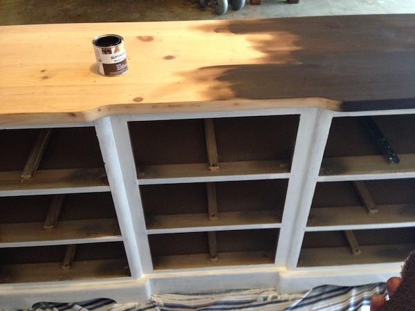 DIY White Painted Dresser stained top