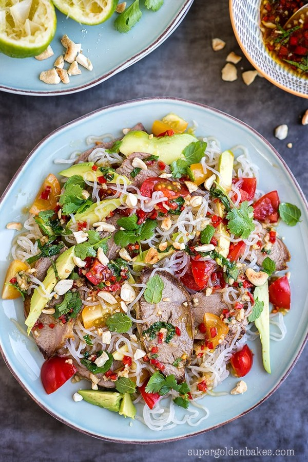 low carb recipe Thai Lamb Salad with Miracle Noodles by food blogger Supergolden Bakes
