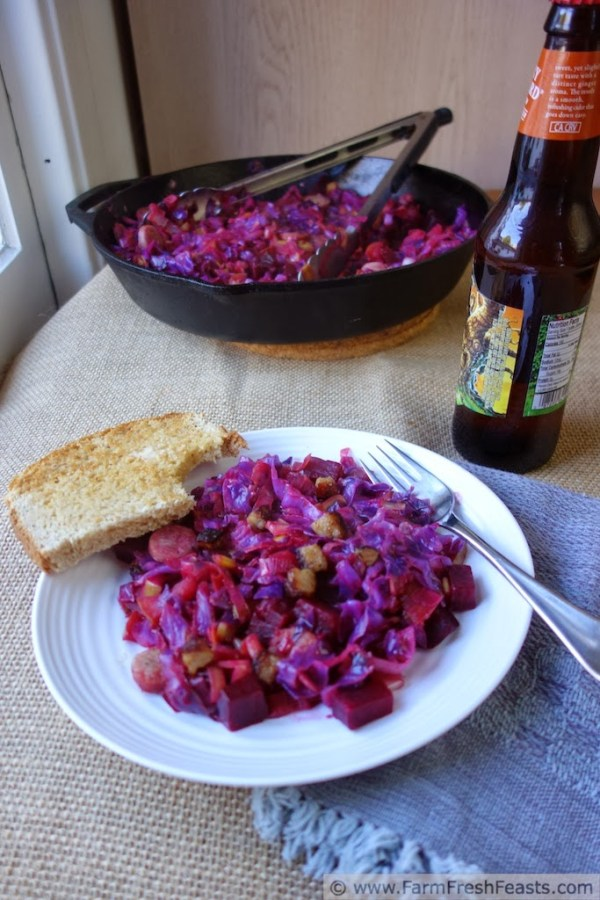 low carb recipe idea Red Cabbage, Leek, Brat and Beet Skillet Supper by Farm Fresh Feasts