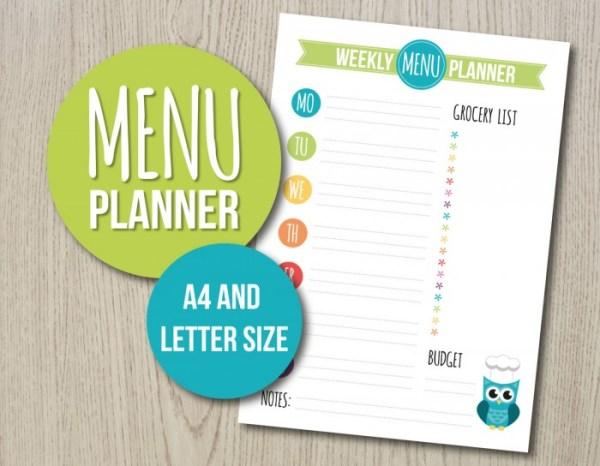 Weekly Menu Planner Printable by Hayah Designs