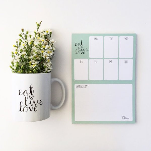 meal planner pad eat love live by little paperterie