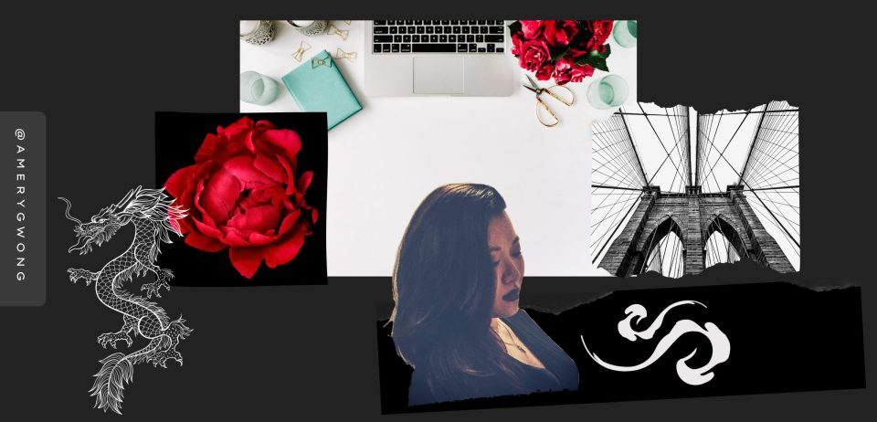 mood board landing page. a laptop up top, a red peony on the left, a white stenciled celestial dragon left of  the peony. cutout of an East Asian woman beneath the laptop, a yinyang breath on her right. a black and white image of the brooklyn bridge above the yin yang and to the right of the laptop