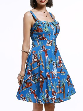 Dressfo vintage cartoon print swing dress