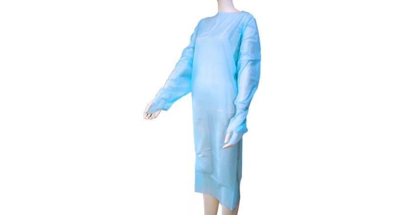 OW PEエプロン袖付ブルー