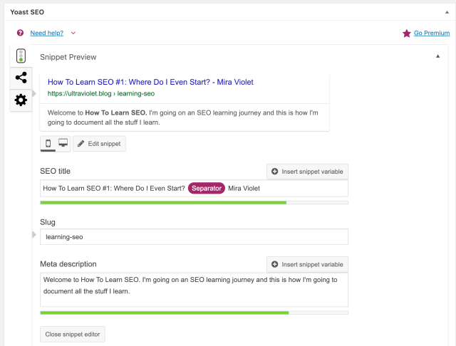 Screenshot of Yoast plugin content analysis for how to learn seo
