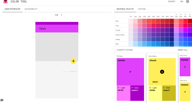 Material Design Color Tool Screenshot Color Palette Tools