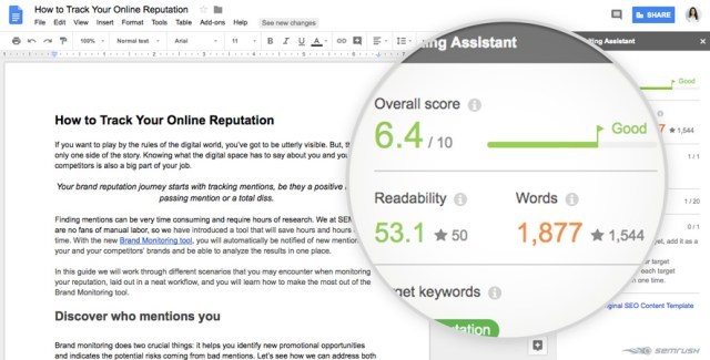 SEMRush Writing Assistant Screenshot for how to learn seo