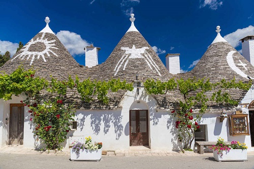 Beautiful town of Alberobello with trulli houses, main turistic district, Apulia region, Southern Italy