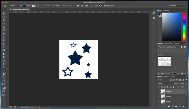 Screenshot of custom brush shape in photoshop