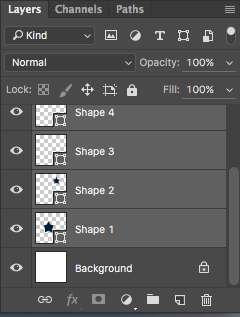 Screenshot of selected layers in photoshop