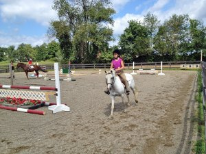 Photo of young girl riding a horse near oxers at Amethyst Farm