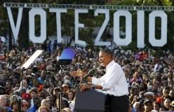 U.S. President Barack Obama speaks at a rally at Vernon Park in Philadelphia