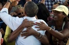 Supporters greet US President Barack Oba