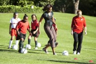 First lady Obama hosts a Let's Move! clinic with members of the U.S. women's soccer team in Washington