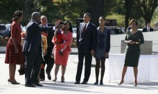 U.S. President Barack Obama and his family receive a tour at the dedication ceremony of the Martin Luther King, Jr. Memorial in Washington