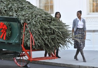 US First Lady Michelle Obama and daughte