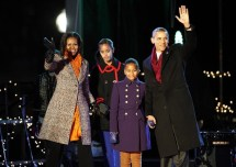 President Barack Obama and the first family arrive to take part in the National Christmas Tree Lighting ceremony in Washington